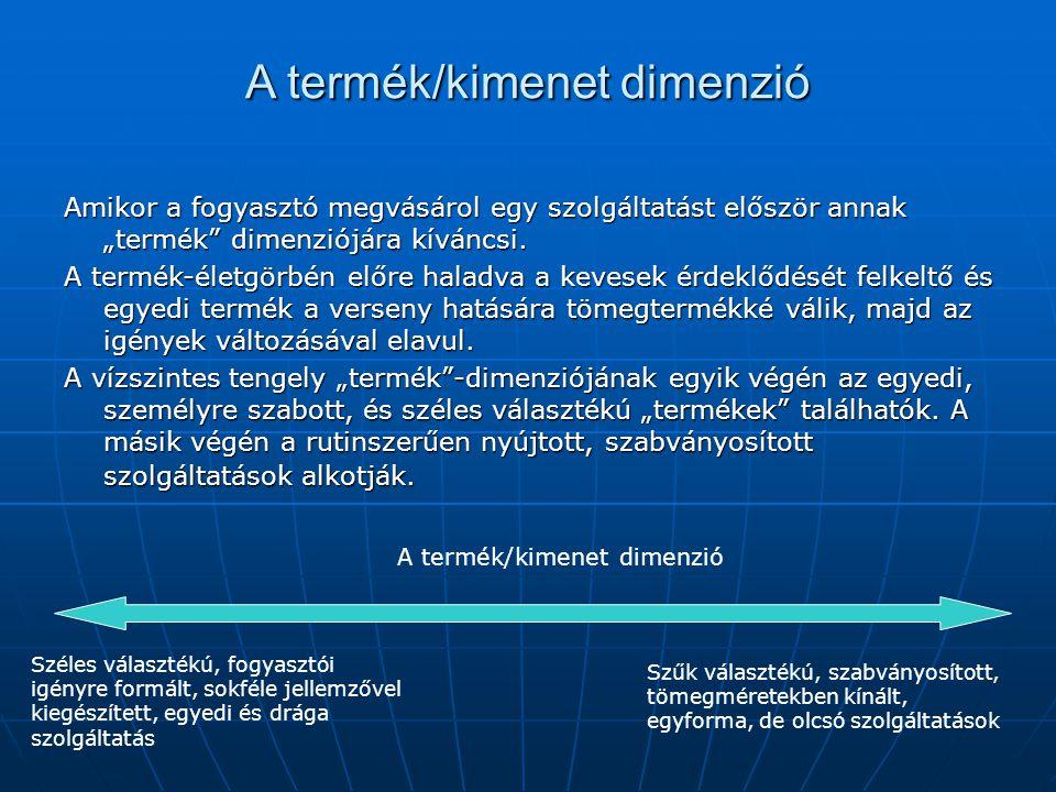 A termék/kimenet dimenzió