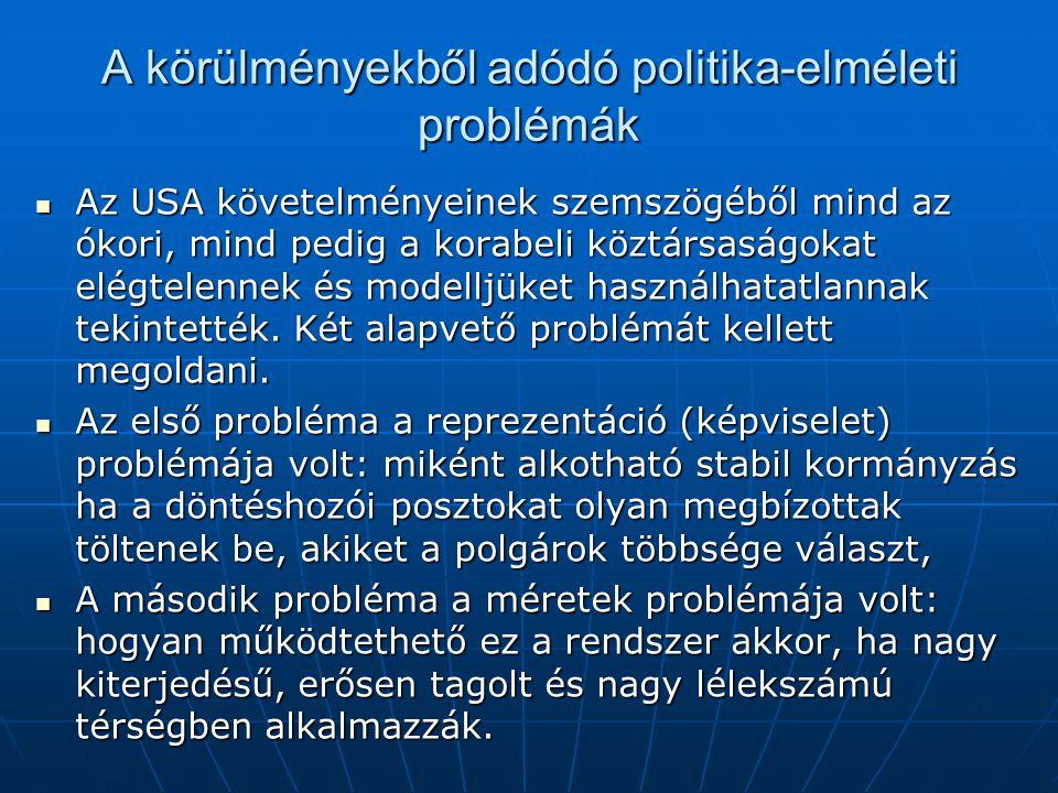 A körülményekből adódó politika-elméleti problémák