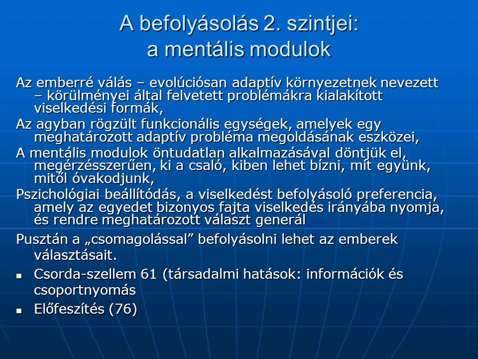 A befolyásolás 2. szintjei: a mentális modulok