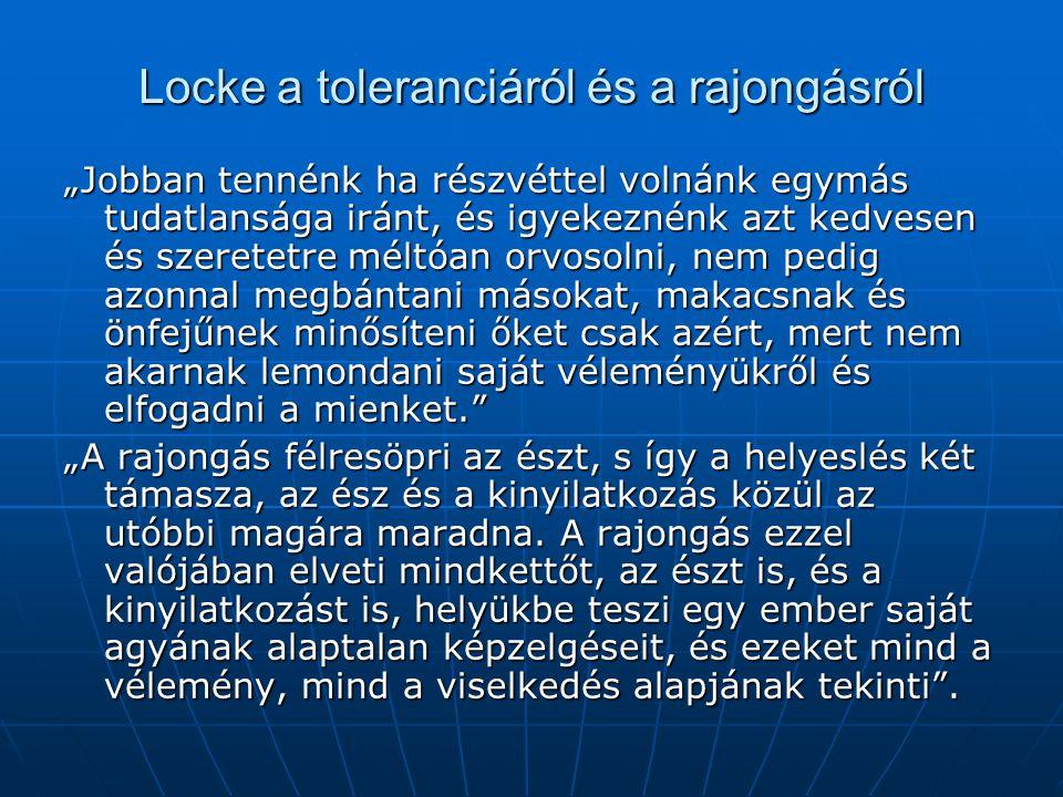 Locke a toleranciáról és a rajongásról