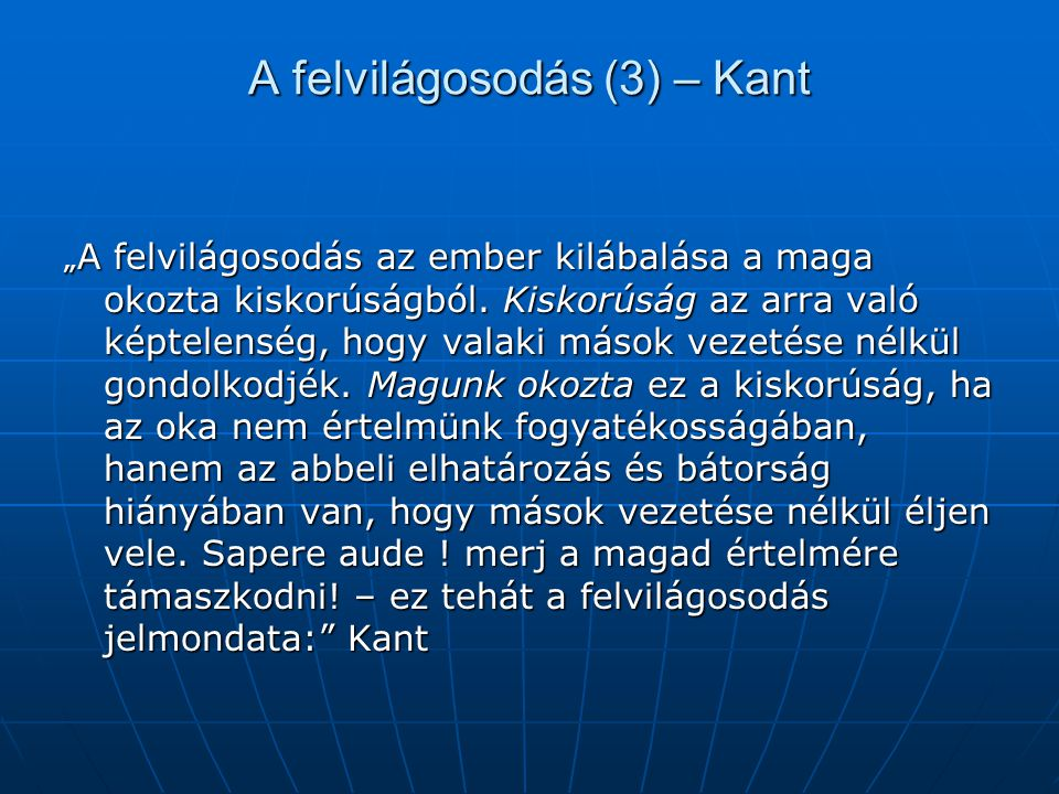 A felvilágosodás (3) – Kant