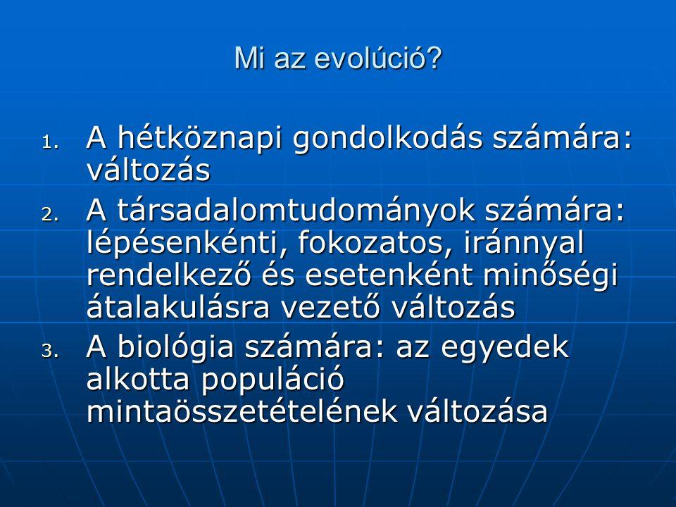 Mi az evolúció A hétköznapi gondolkodás számára: változás.