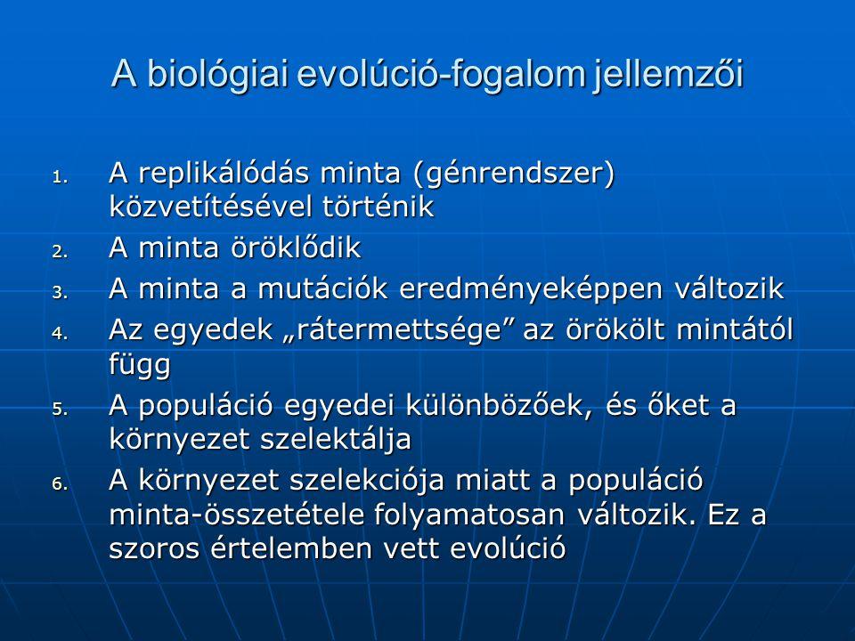 A biológiai evolúció-fogalom jellemzői