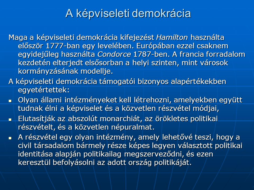 A képviseleti demokrácia
