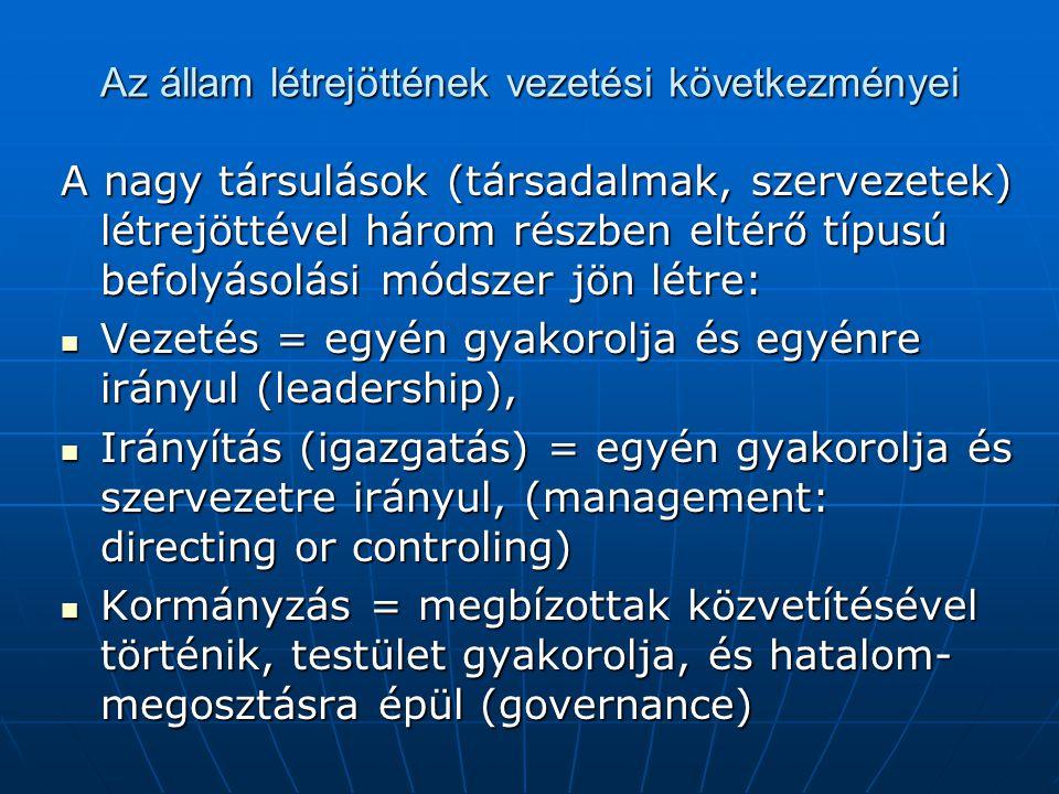 Az állam létrejöttének vezetési következményei