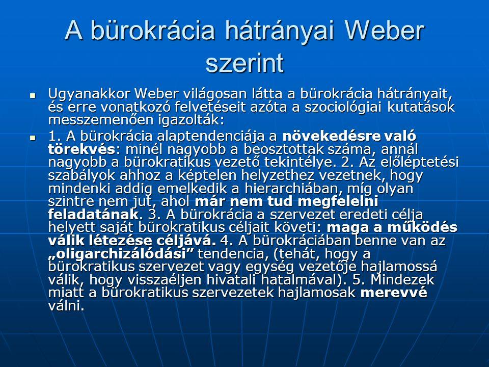 A bürokrácia hátrányai Weber szerint