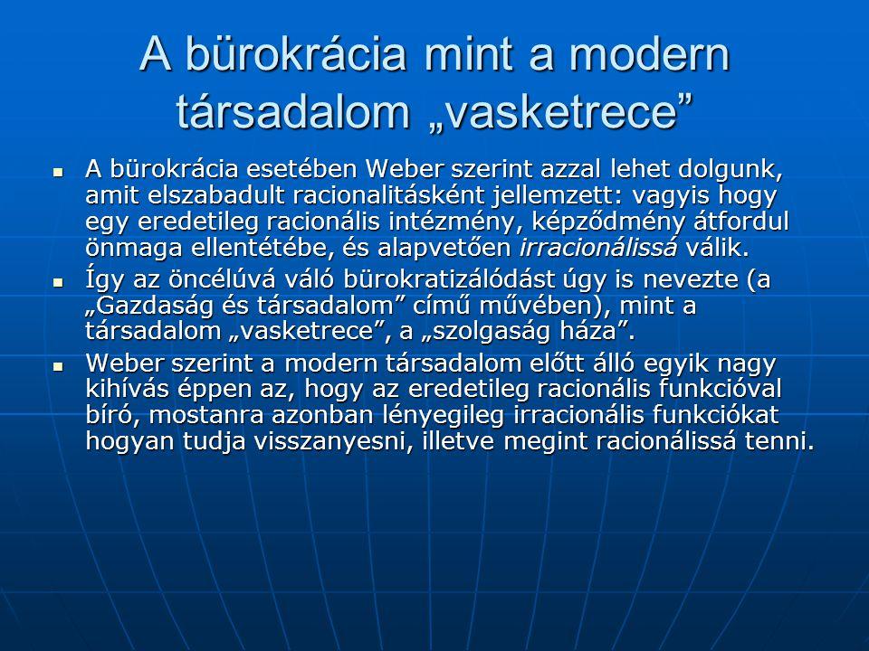 """A bürokrácia mint a modern társadalom """"vasketrece"""