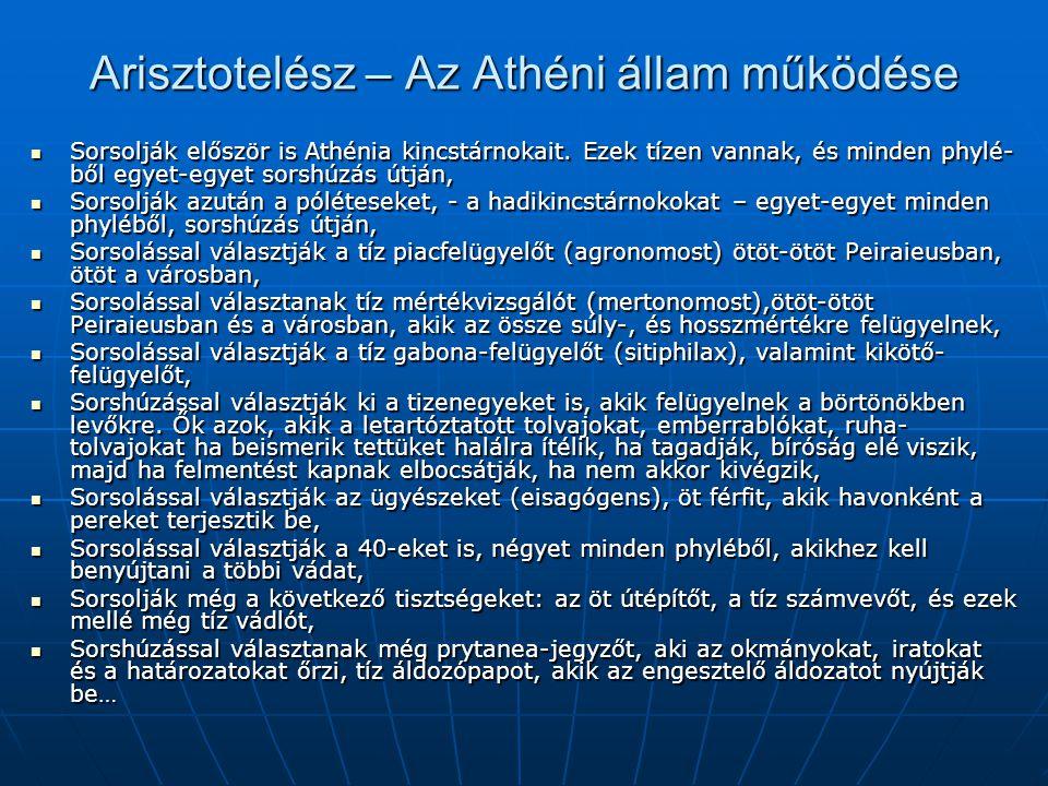 Arisztotelész – Az Athéni állam működése