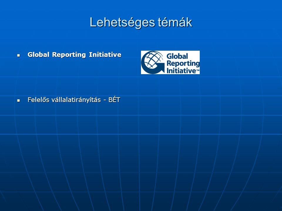 Lehetséges témák Global Reporting Initiative