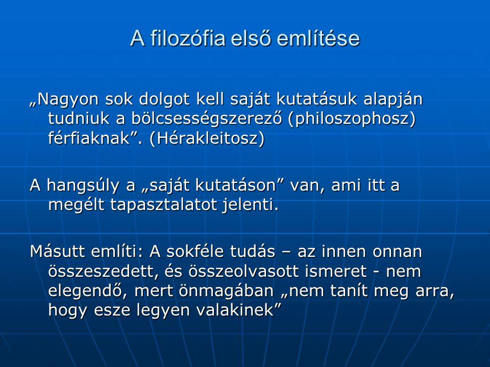 A filozófia első említése