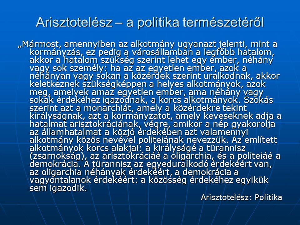 Arisztotelész – a politika természetéről