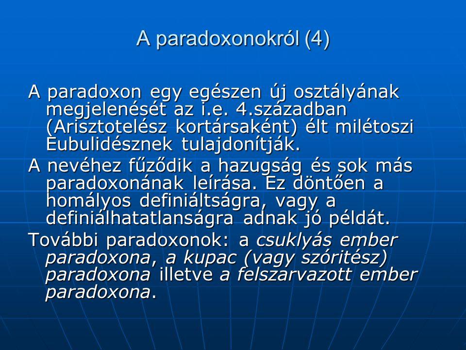 A paradoxonokról (4)