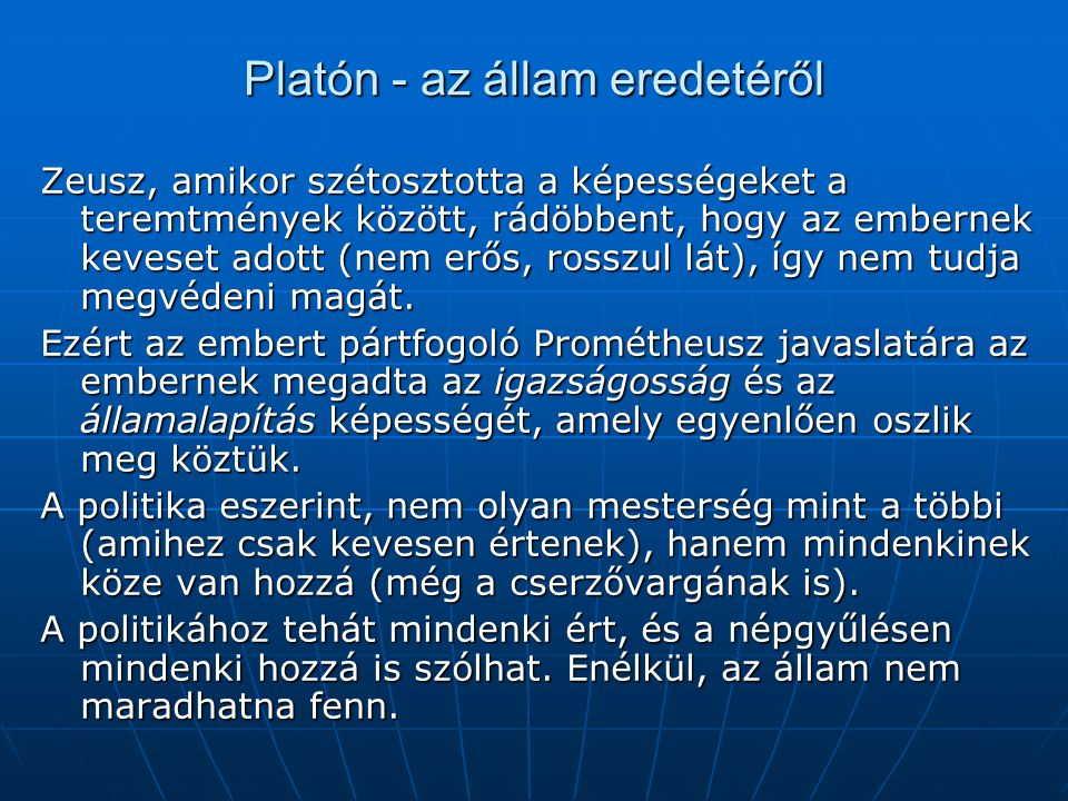 Platón - az állam eredetéről