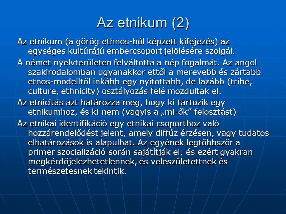 Az etnikum (2) Az etnikum (a görög ethnos-ból képzett kifejezés) az egységes kultúrájú embercsoport jelölésére szolgál.