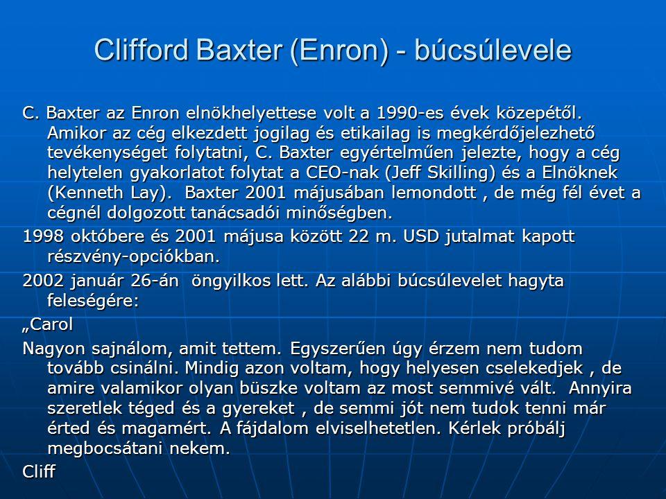 Clifford Baxter (Enron) - búcsúlevele