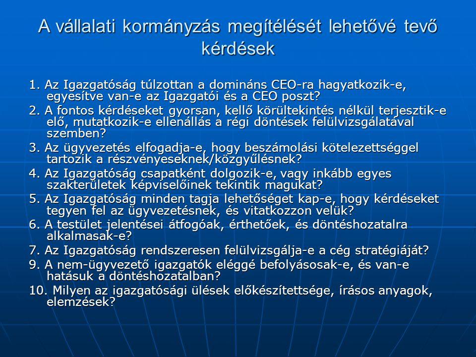 A vállalati kormányzás megítélését lehetővé tevő kérdések