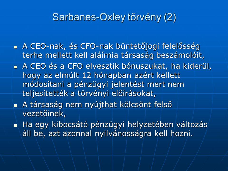 Sarbanes-Oxley törvény (2)