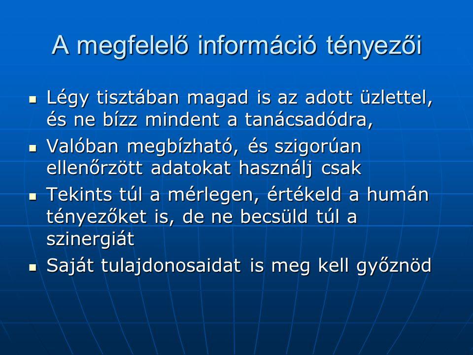 A megfelelő információ tényezői