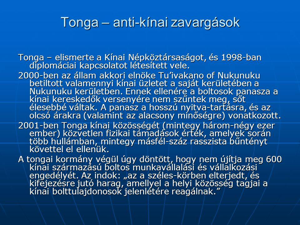 Tonga – anti-kínai zavargások