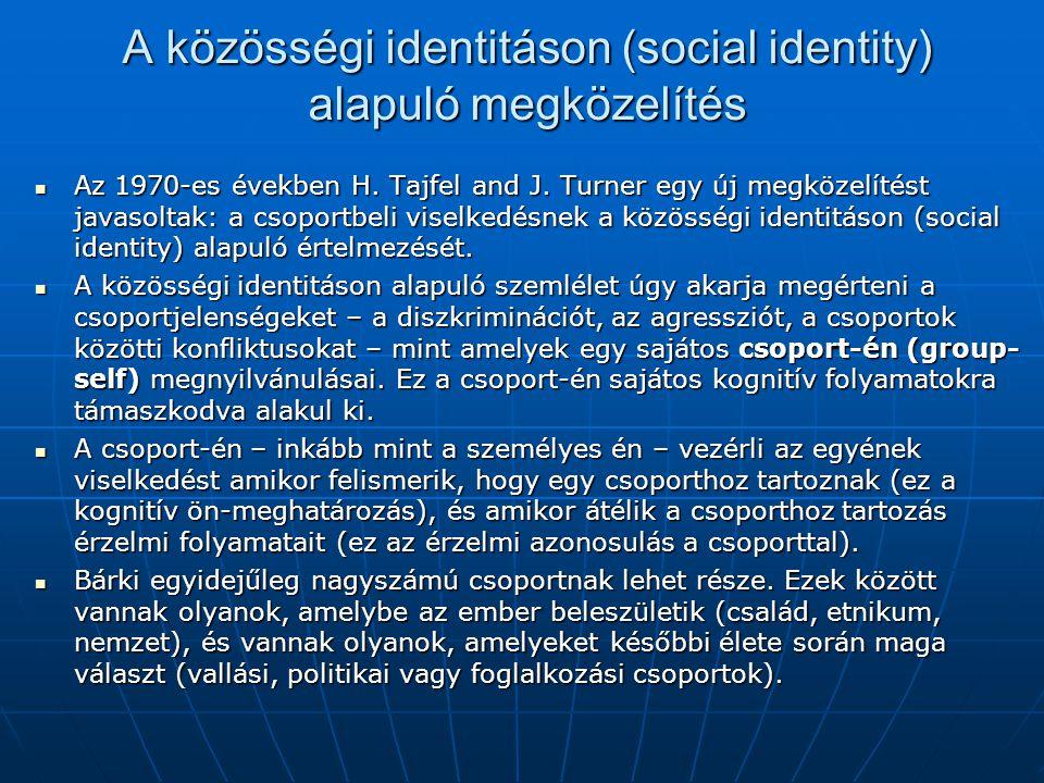 A közösségi identitáson (social identity) alapuló megközelítés