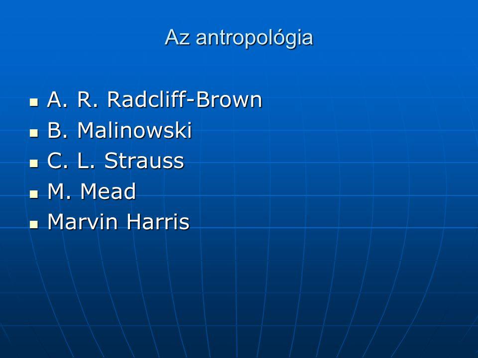 Az antropológia A. R. Radcliff-Brown B. Malinowski C. L. Strauss M. Mead Marvin Harris
