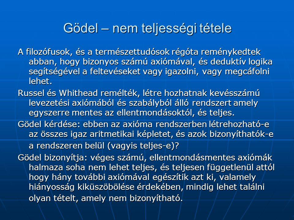 Gödel – nem teljességi tétele