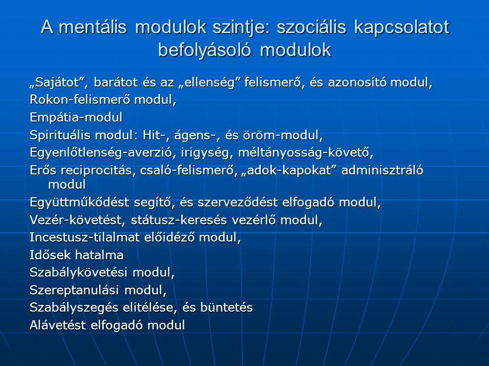 A mentális modulok szintje: szociális kapcsolatot befolyásoló modulok