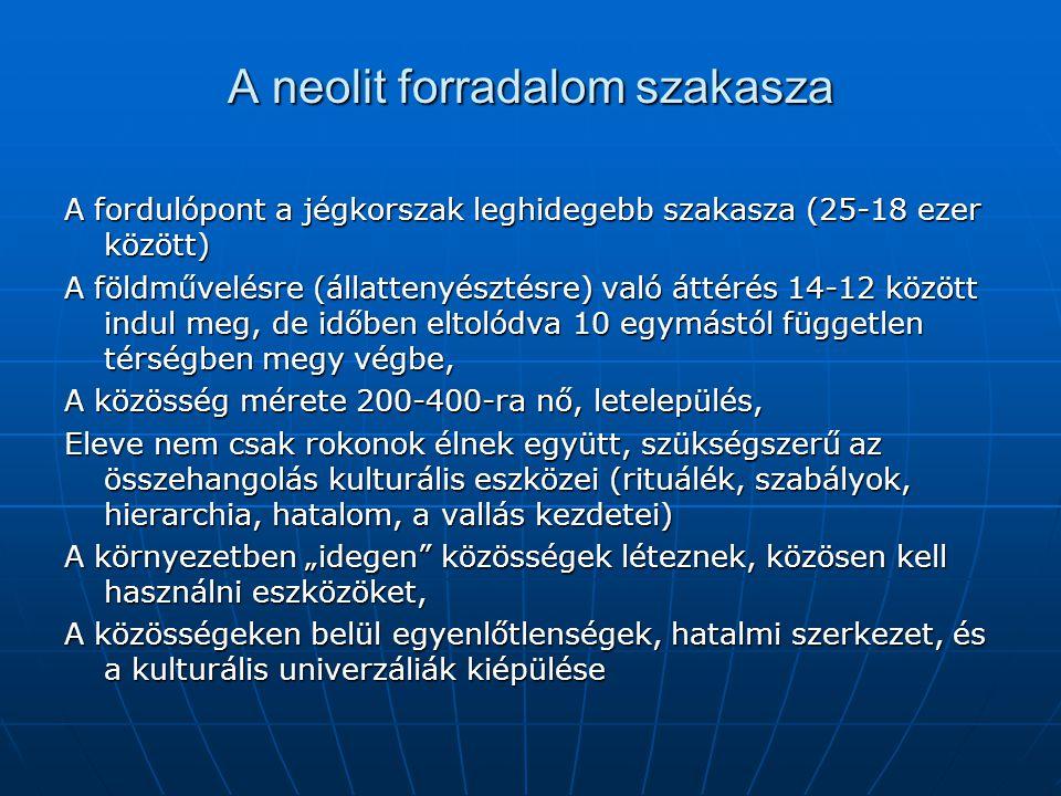 A neolit forradalom szakasza