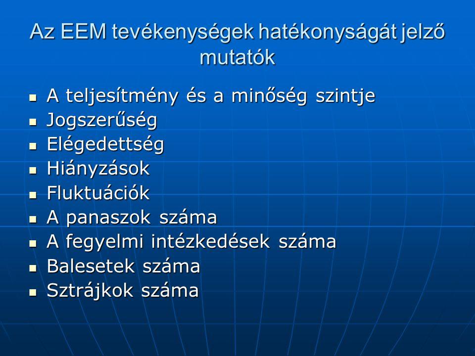 Az EEM tevékenységek hatékonyságát jelző mutatók