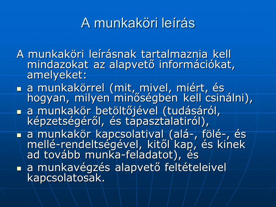 A munkaköri leírás A munkaköri leírásnak tartalmaznia kell mindazokat az alapvető információkat, amelyeket: