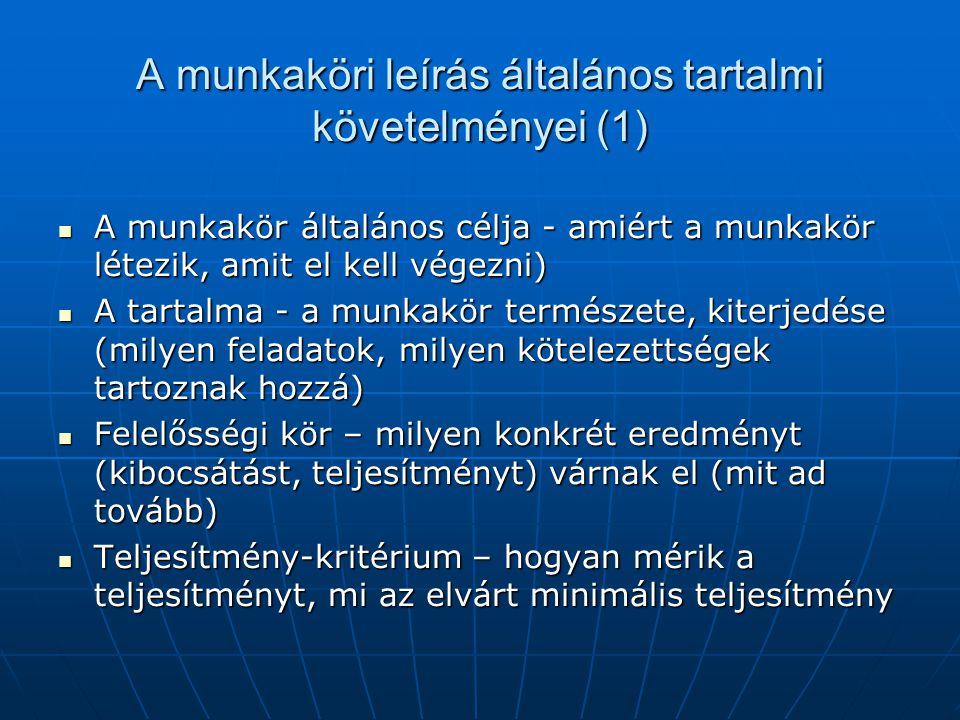 A munkaköri leírás általános tartalmi követelményei (1)