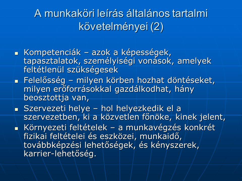 A munkaköri leírás általános tartalmi követelményei (2)