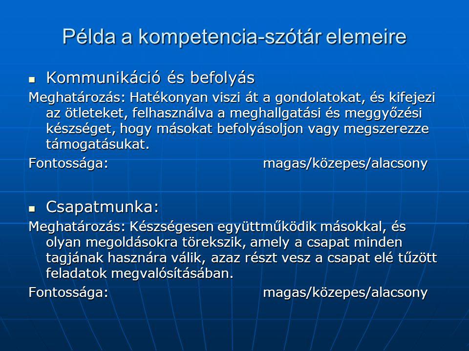 Példa a kompetencia-szótár elemeire