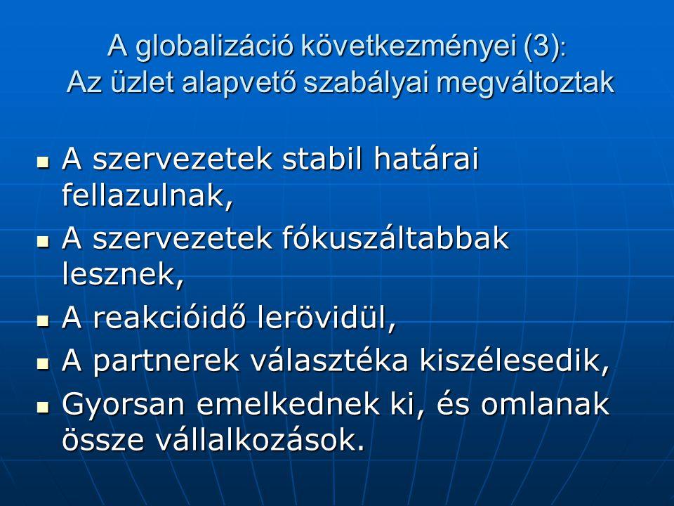 A globalizáció következményei (3): Az üzlet alapvető szabályai megváltoztak