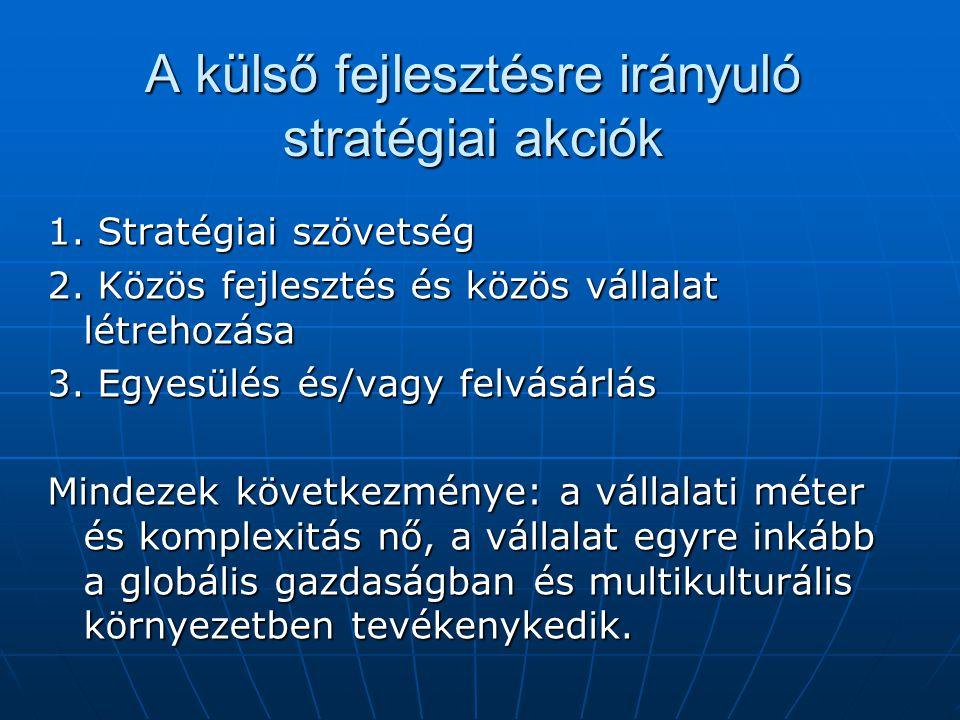A külső fejlesztésre irányuló stratégiai akciók