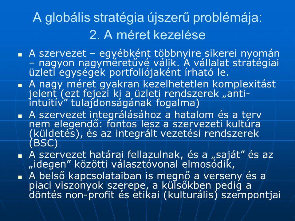 A globális stratégia újszerű problémája: 2. A méret kezelése