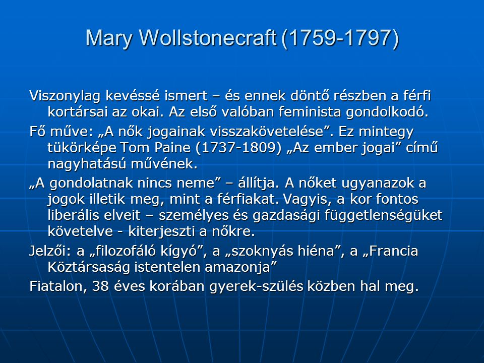 Mary Wollstonecraft (1759-1797)