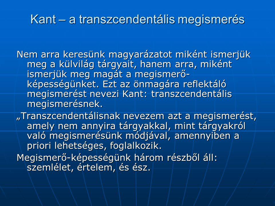 Kant – a transzcendentális megismerés