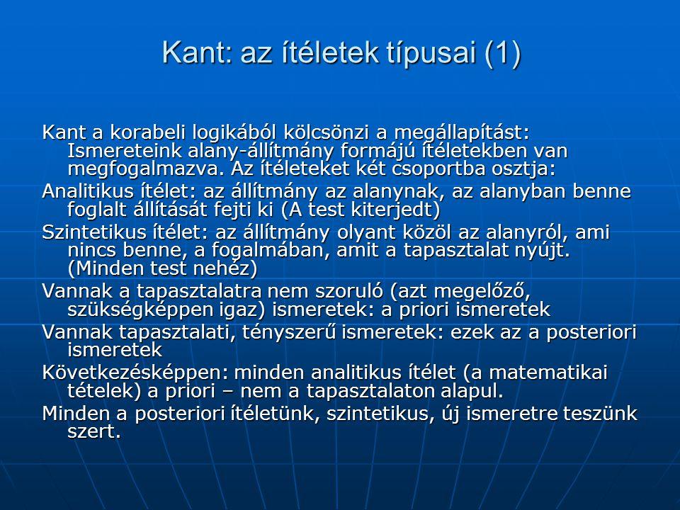 Kant: az ítéletek típusai (1)