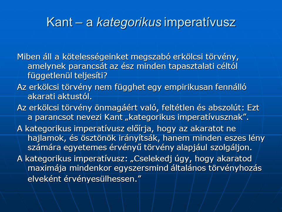 Kant – a kategorikus imperatívusz