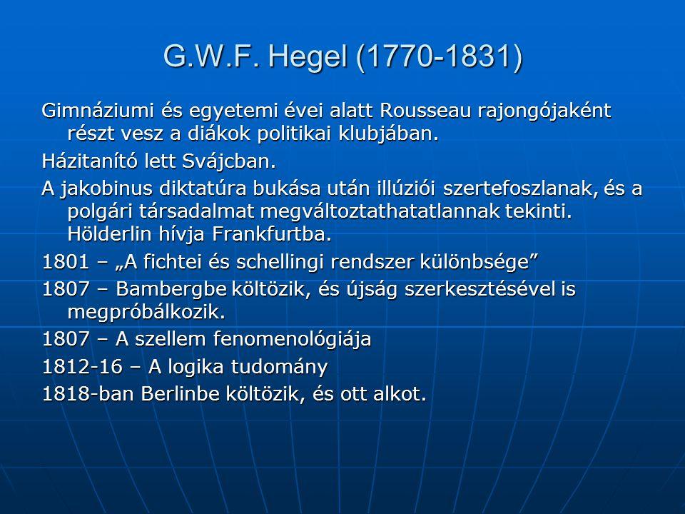G.W.F. Hegel (1770-1831) Gimnáziumi és egyetemi évei alatt Rousseau rajongójaként részt vesz a diákok politikai klubjában.