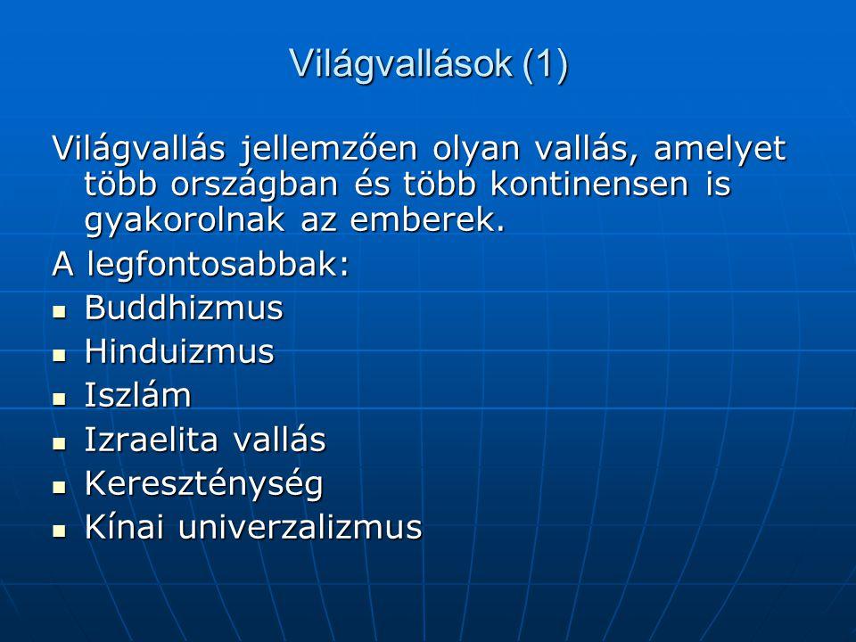 Világvallások (1) Világvallás jellemzően olyan vallás, amelyet több országban és több kontinensen is gyakorolnak az emberek.