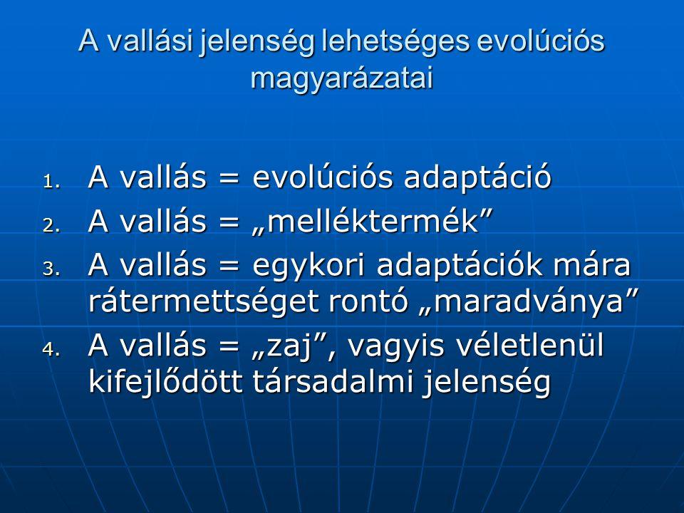 A vallási jelenség lehetséges evolúciós magyarázatai