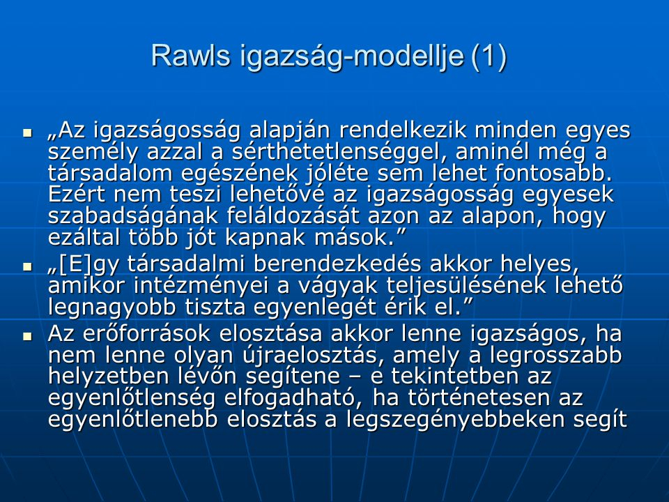 Rawls igazság-modellje (1)