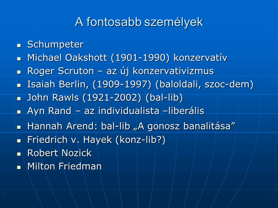 A fontosabb személyek Schumpeter