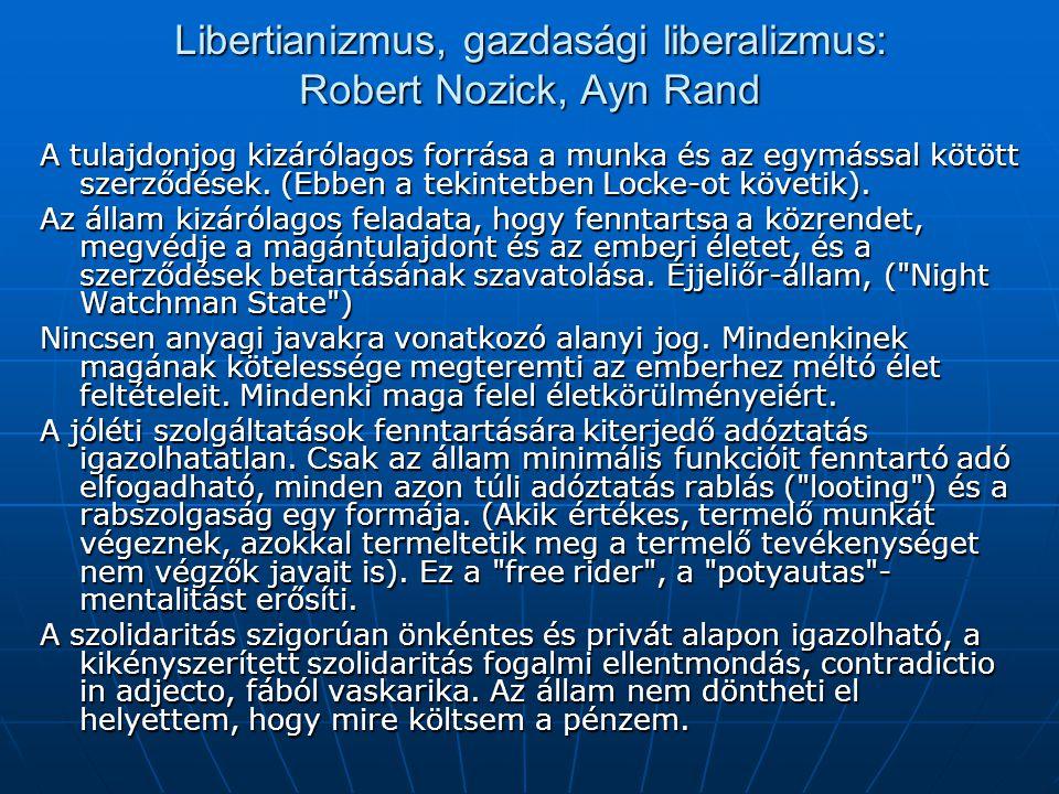 Libertianizmus, gazdasági liberalizmus: Robert Nozick, Ayn Rand