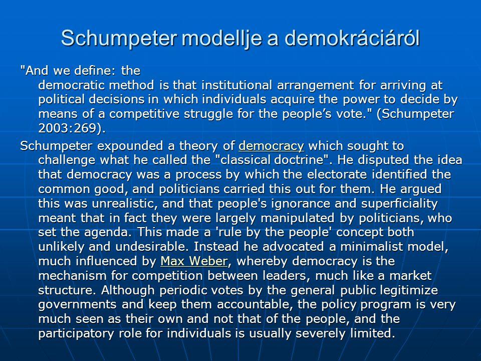 Schumpeter modellje a demokráciáról