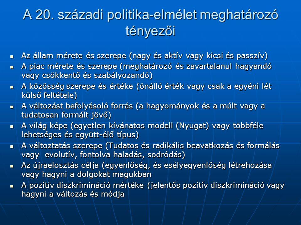 A 20. századi politika-elmélet meghatározó tényezői