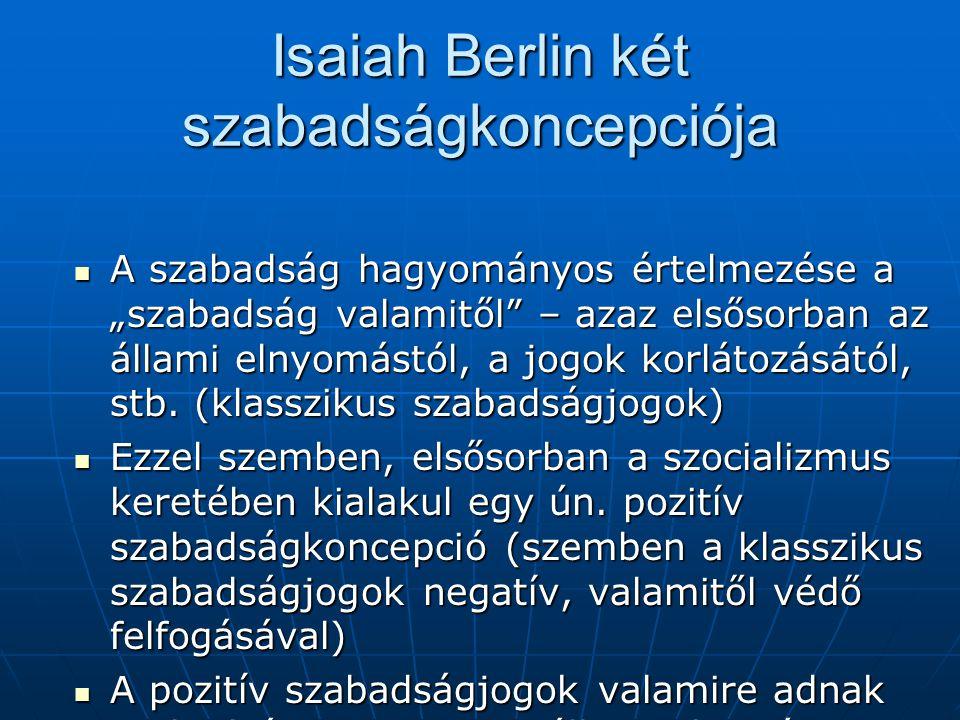 Isaiah Berlin két szabadságkoncepciója