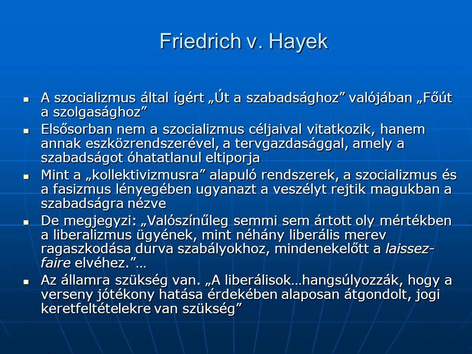 """Friedrich v. Hayek A szocializmus által ígért """"Út a szabadsághoz valójában """"Főút a szolgasághoz"""